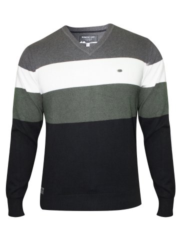 Numero Uno Black & Grey V Neck 100% Cotton Sweater at cilory