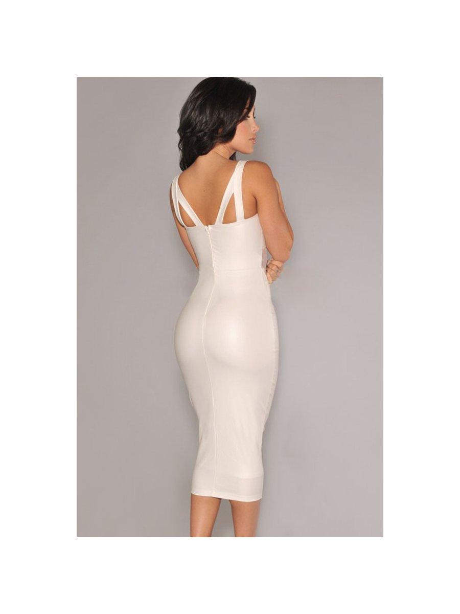 cc8a889907b White Faux Leather Mesh Accent Midi Dress
