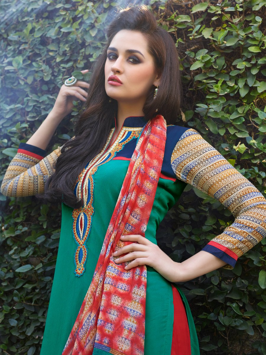 Style green red semi stitched embroidered suit stex for Style green