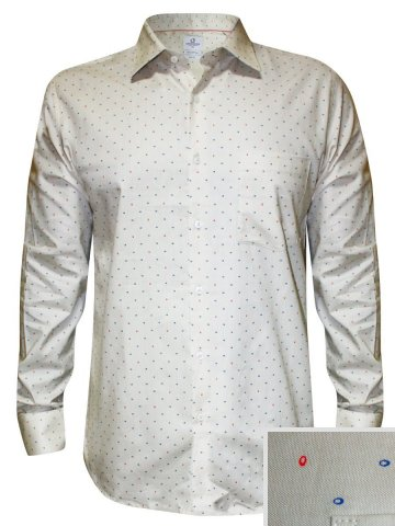 LondonBridge Beige Formal Printed Shirt at cilory