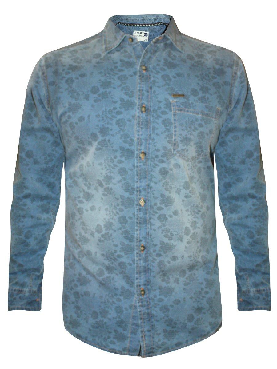 5c09808a127 Spykar Indigo Blue Printed Denim Shirt