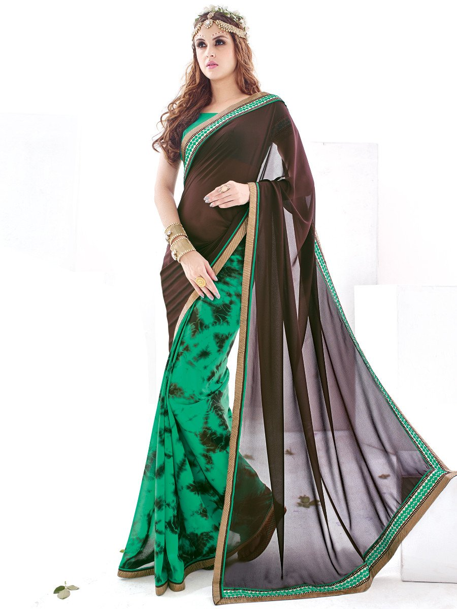 look coffee green printed saree sasya 507. Black Bedroom Furniture Sets. Home Design Ideas
