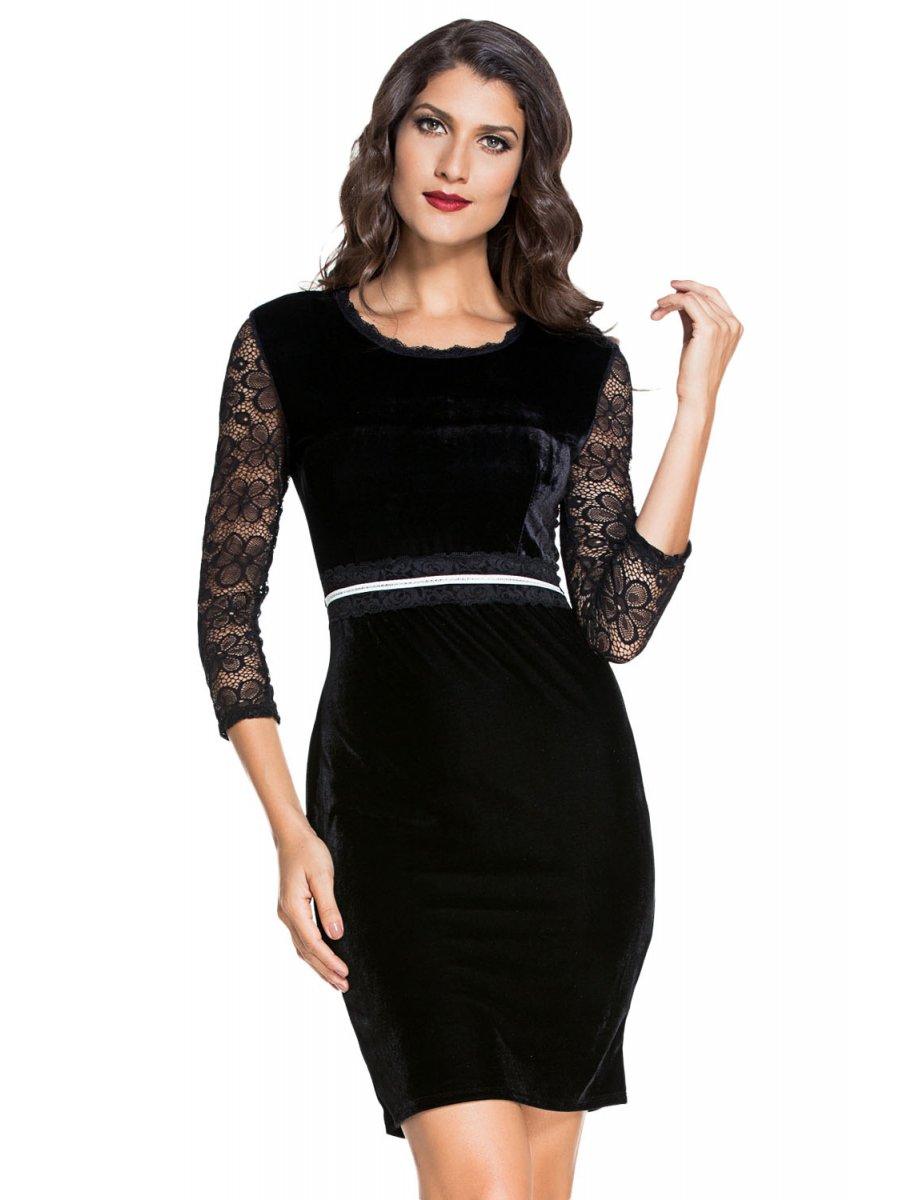 Black velvet bodycon midi dress with sleeves bulk