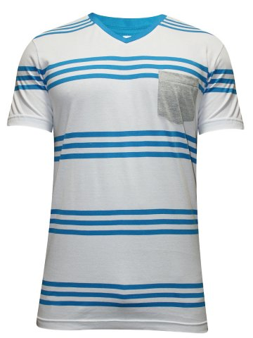 Undercolors of Benetton White & Blue V Neck Tee at cilory