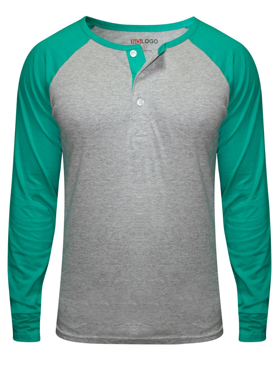 Nologo grey sea green henley raglan sleeves t shirt for Full size t shirt printing