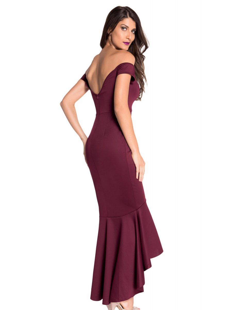 Maroon Off-shoulder Mermaid Jersey Evening Dress   E60171-1   Cilory.com