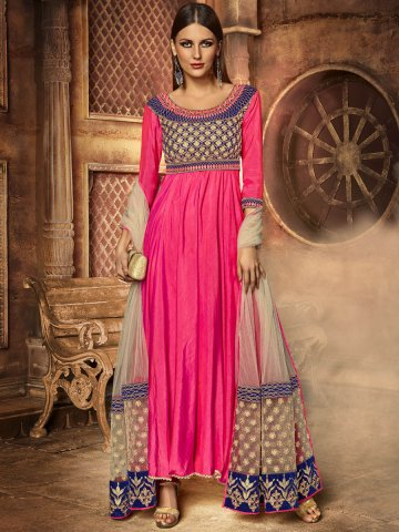 Silken Pink Gown Style Semi Stitched Suit   Eternal-181   Cilory.com
