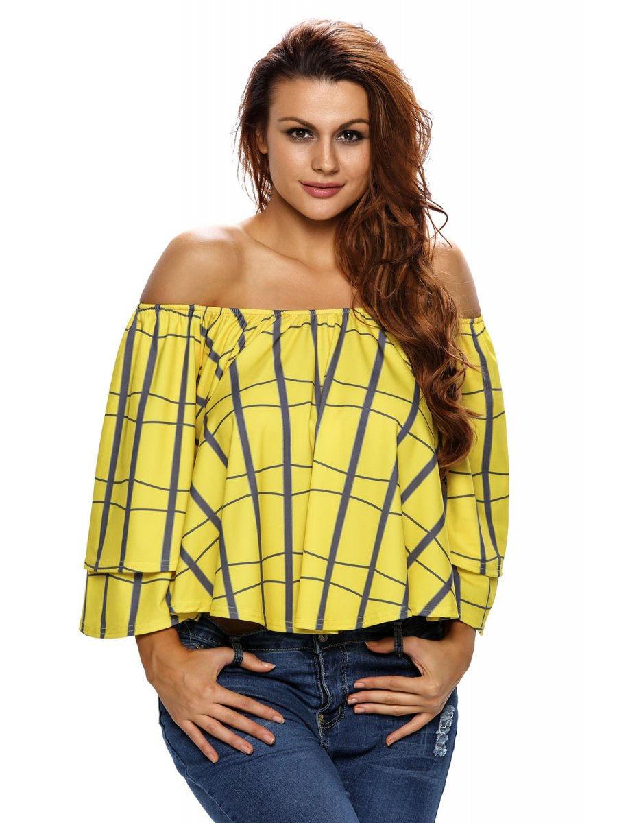 07bacd2f1a9 Plaid Pattern Layered Sleeves Yellow Off Shoulder Top   E25906-7 ...