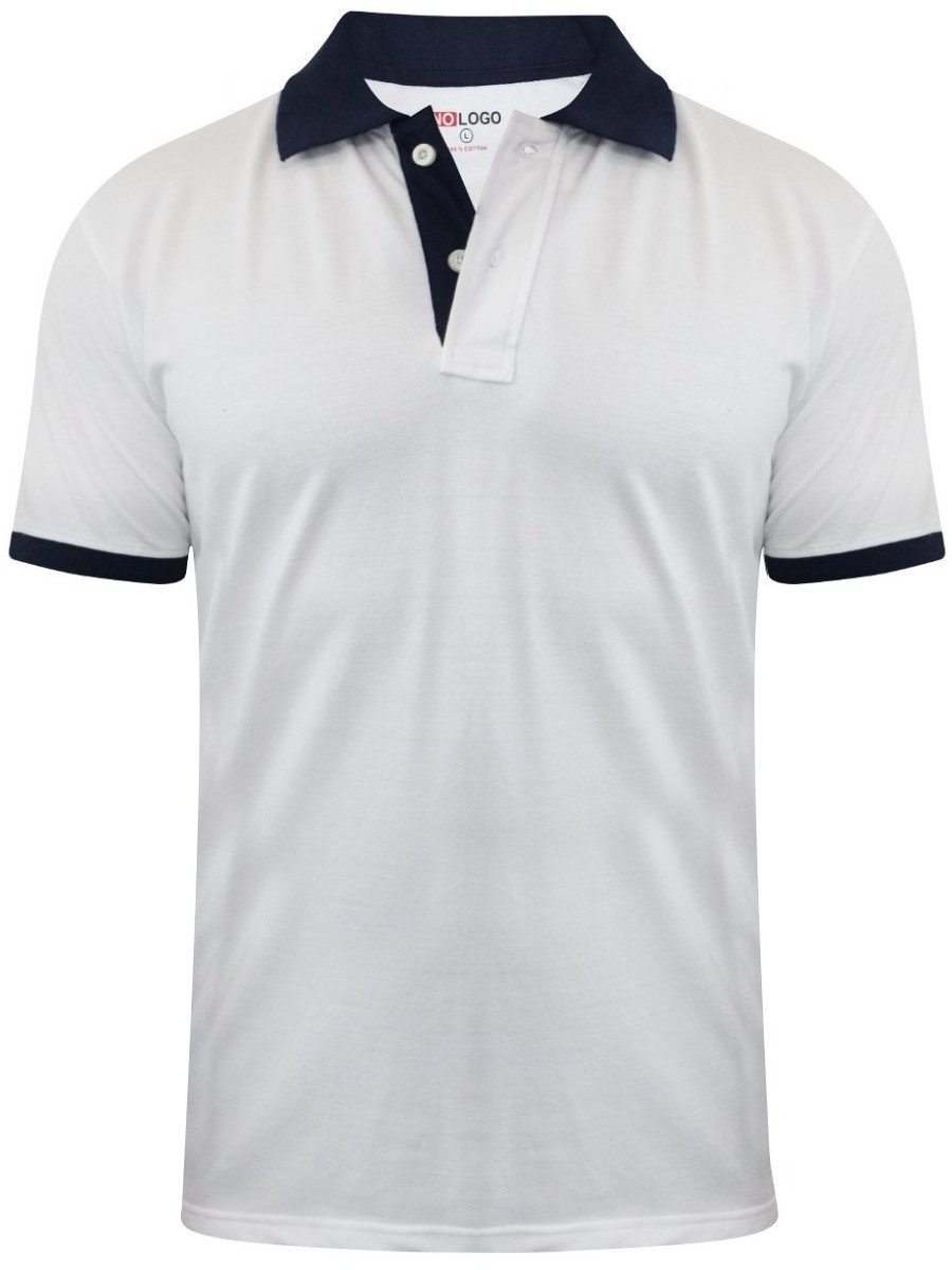 Buy T Shirts Online Nologo White Polo T Shirt With Navy Collar