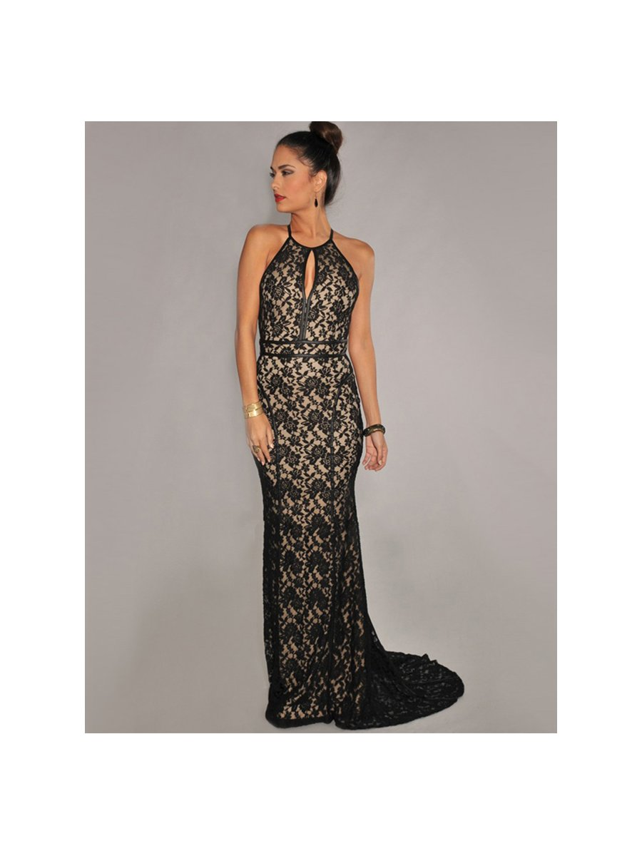 Black Floral Lace Halter Evening Gown | V1032 | Cilory.com