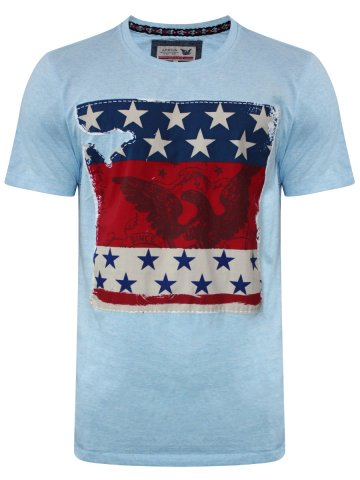 Arrow Sky Blue Round Neck T-Shirt at cilory