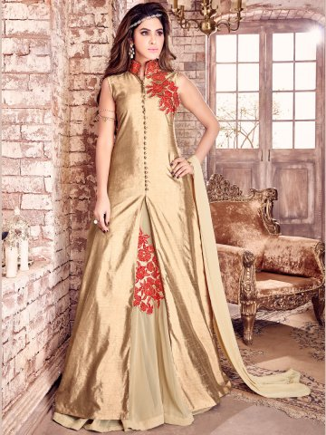 Maisha Golden Brown Semi Stitched Embroidered Suit at cilory