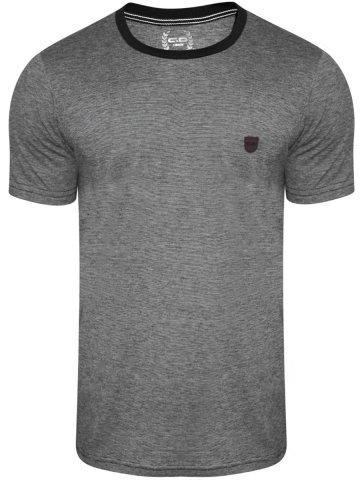 Monte Carlo C&D Black Melange Round Neck T-Shirt at cilory