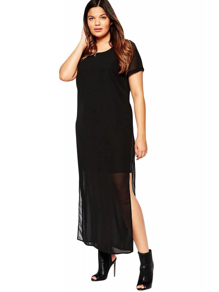 739e6698ae79a Plus Size Chiffon Overlay Maxi Dress