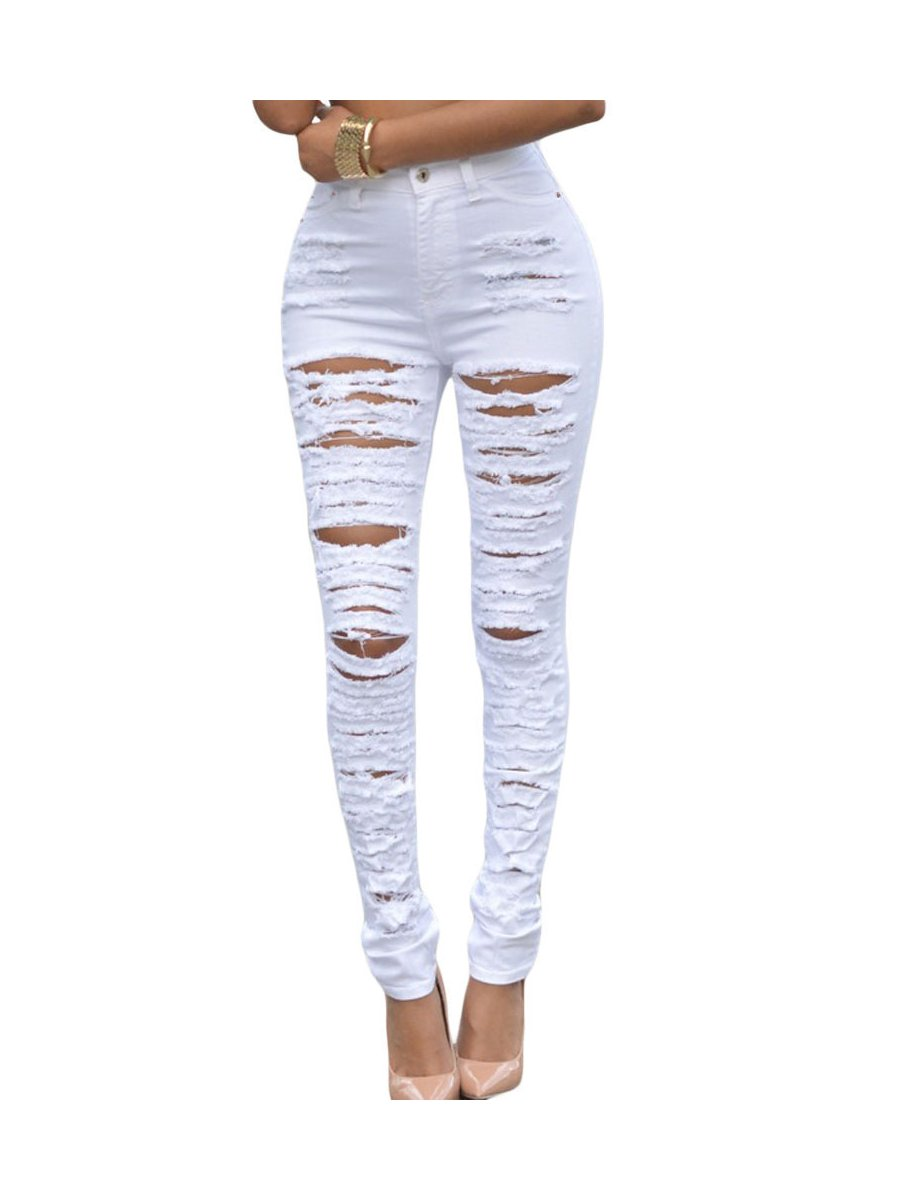 8571b0ad4f737 White Denim Destroyed High-waist Skinny Jeans