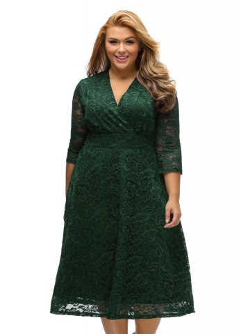 Bottle Green Plus Size Surplice Lace Formal Skater Dress E61442 9
