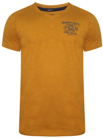 Pepe Jeans Mustard V-Neck T-Shirt at cilory