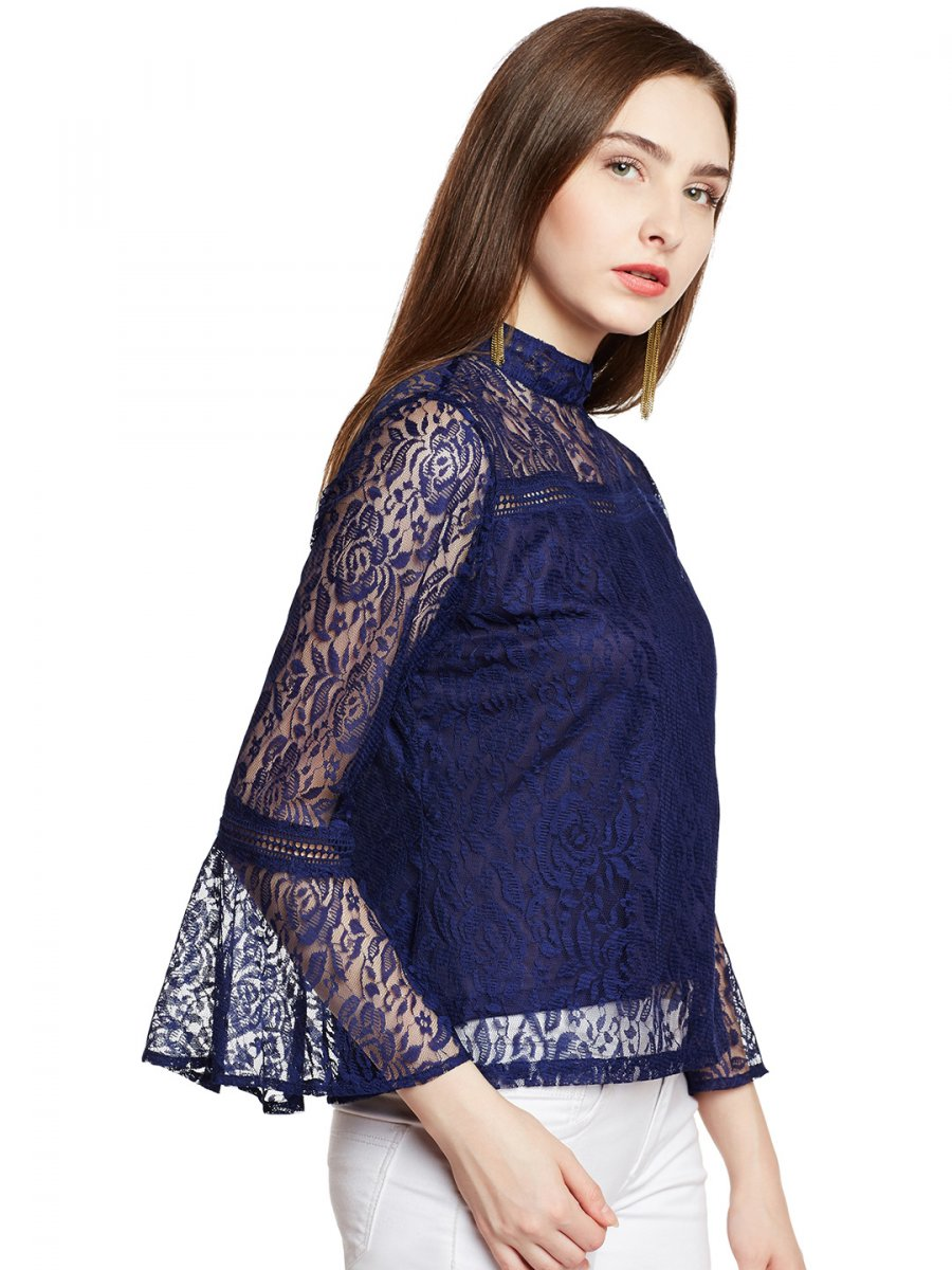 d1194d3467 Iknow Dainty Navy Blue Lace Top   Ikwdwtp7128   Cilory.com