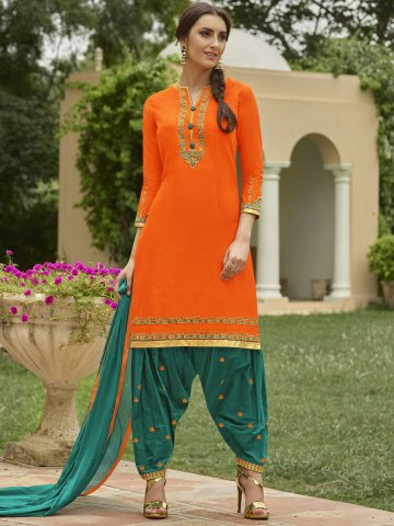 b1ff2945ef Saina Orange & Dark Green Semi Stitched Embroidered Suit | Angroop-plus-018  | Cilory.com