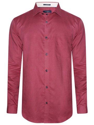 Peter England Maroon Formal Linen Shirt
