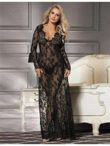 Buy Nightwear Online | Black Delicate Lace Long Sleepwear Gown ...